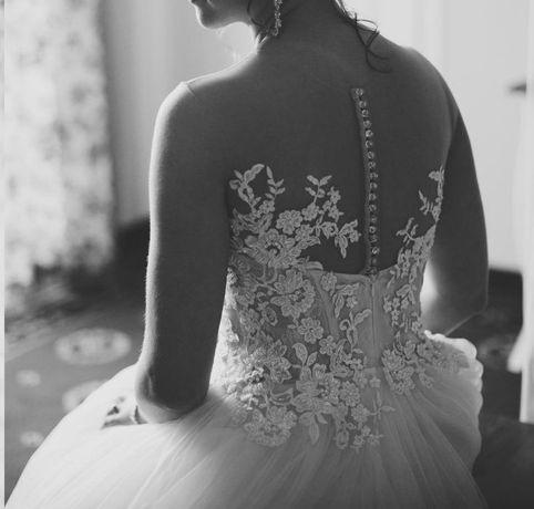 suknia ślubna brzoskwiniowa, rozmiar 38, litera A