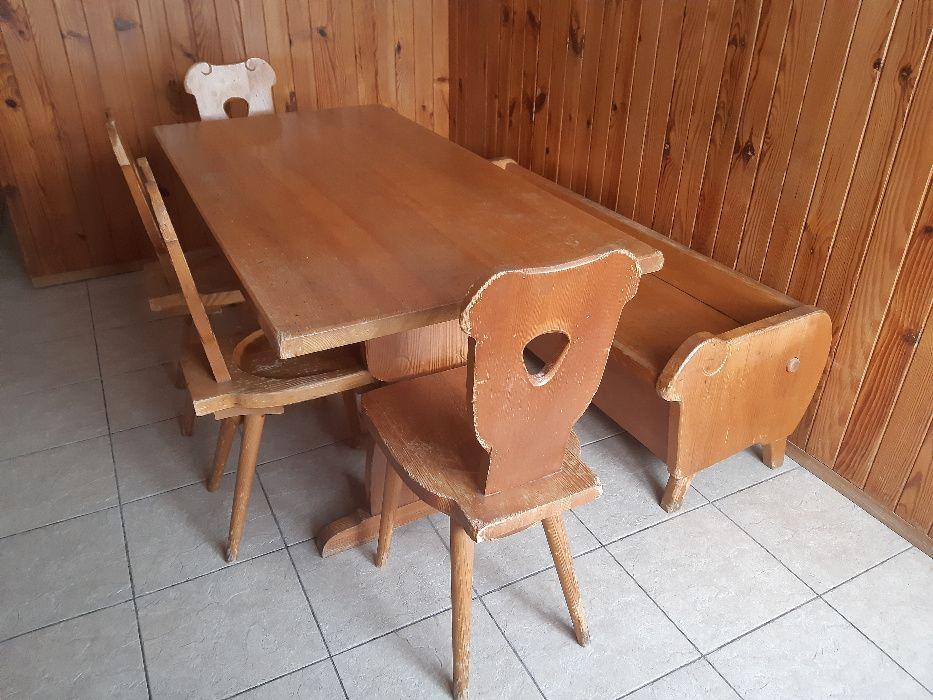 Stół drewniany, 4 krzesła, ława ze schowkiem, styl góralski Lublin - image 1