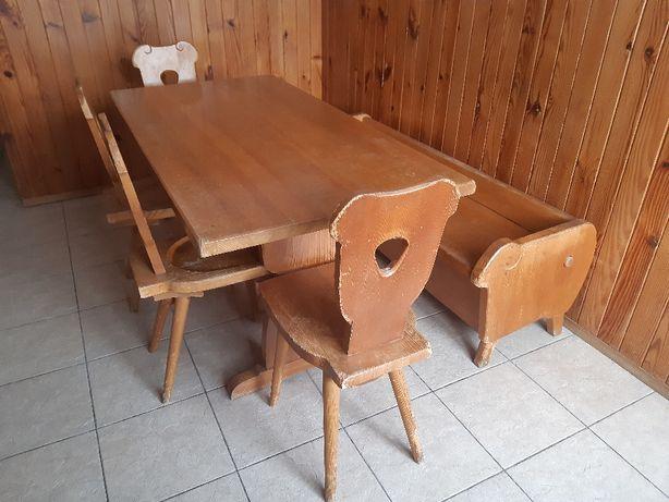 Stół drewniany, 4 krzesła, ława ze schowkiem, styl góralski