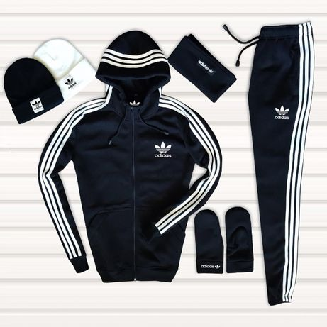 Теплый Adidas костюм мужской зимний.Шапка ,баф, Варежки, Кофта, штаны