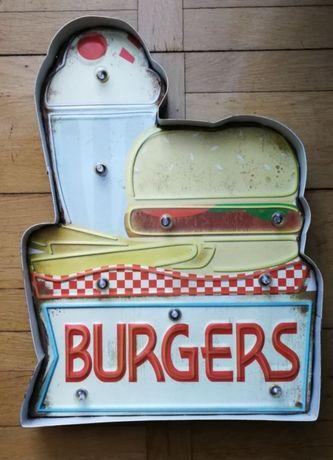 Szyld metalowy 3D Burgers BAR PUB USA ostatnie sztuki