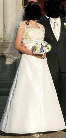 Suknia ślubna ecru koronka M 38