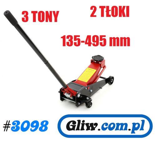 #3098 Podnośnik samochodowy 3T 2-tłokowy żaba 135-495mm