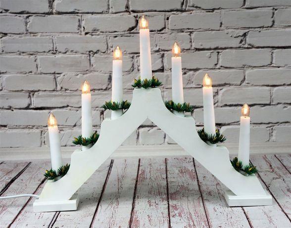 Świecznik Adwentowy Biały 7 LED świece ŚWIĄTECZNY