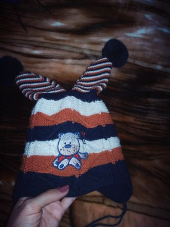 Демисезонная двойная шапочка на мальчика 3-4 годика