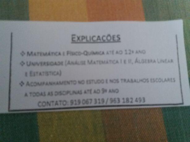 E xplicações  de Matemática e F.Q .