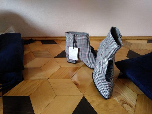 Botki buty damskie w kratkę szare r. 37