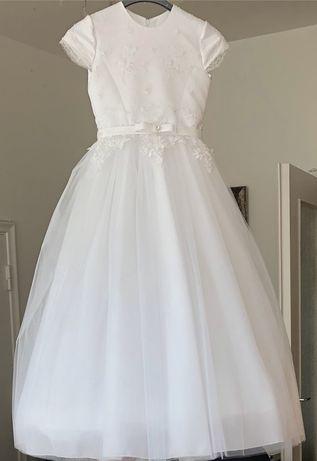 Sukienka komunijna, elegancka, szyta na rozmiar 134 xxs