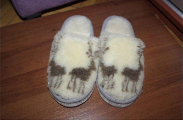 Тапочки домашние овчина войлок теплые натуральный мех зима 36