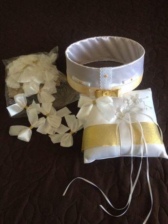 Золотые бутоньерки, свадебное сито, подушечка для колец (золото)
