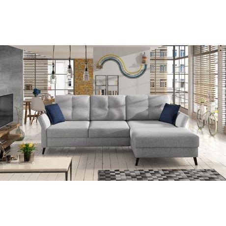 """kanapa narożna """"STAN"""" z funkcją spania, pojemnikiem na pościel, szara"""