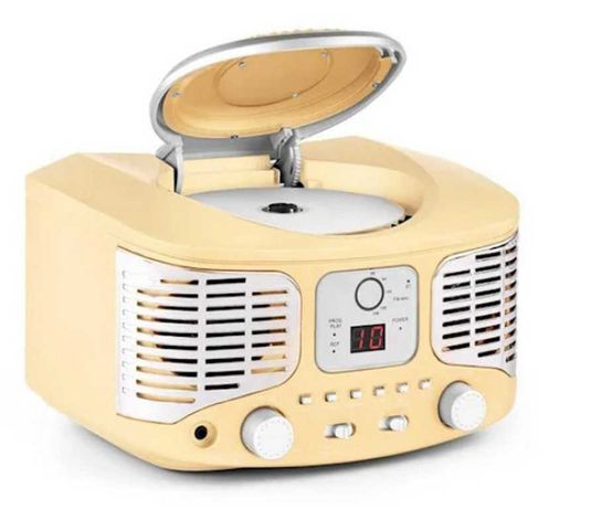 Ретро CD проигрыватель Auna RCD320 FM AUX кремовый