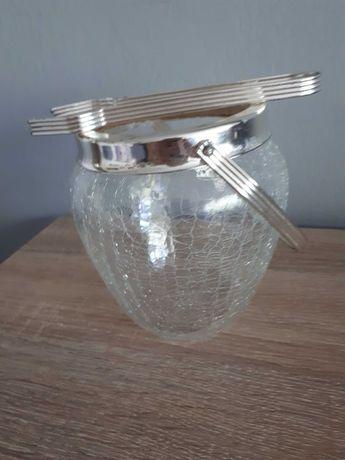 Pojemnik na lód ze szczypcami ze szkła ozdobnego
