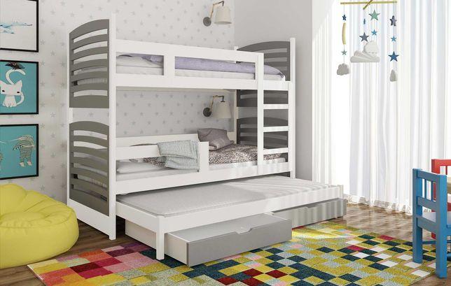 Łóżko piętrowe 3 osobowe Janek z wysuwanym spaniem + materace gratis