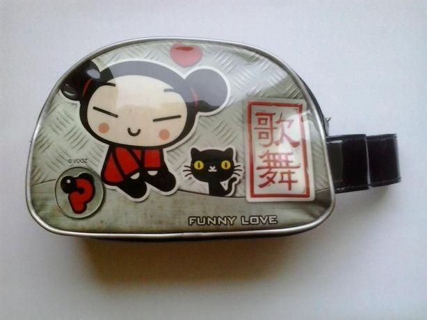 Bolsa Pucca - preta, cinzenta, etc., com gato e caracteres chineses