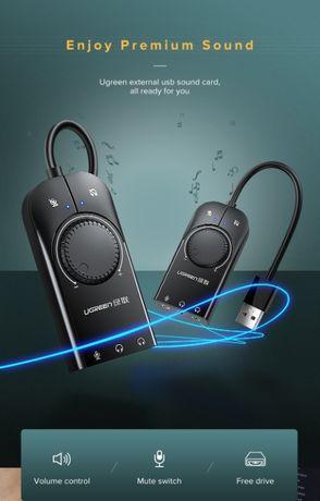 Внешняя звуковая карта Ugreen USB 2.0 c регулятором громкости