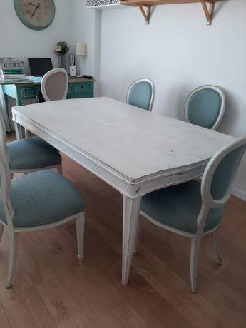 Mesa branca madeira maciça decape e 6 cadeiras