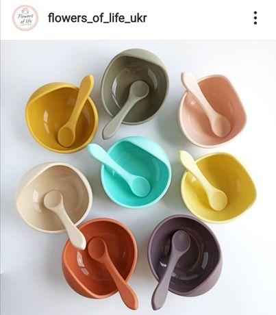 детская посуда слюнявчик нагрудник силиконовая тарелка ложка