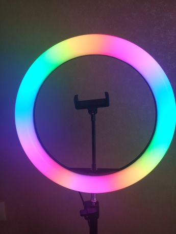 Кольцевая лампа RGB LED 26 см со штативом лампа блогера