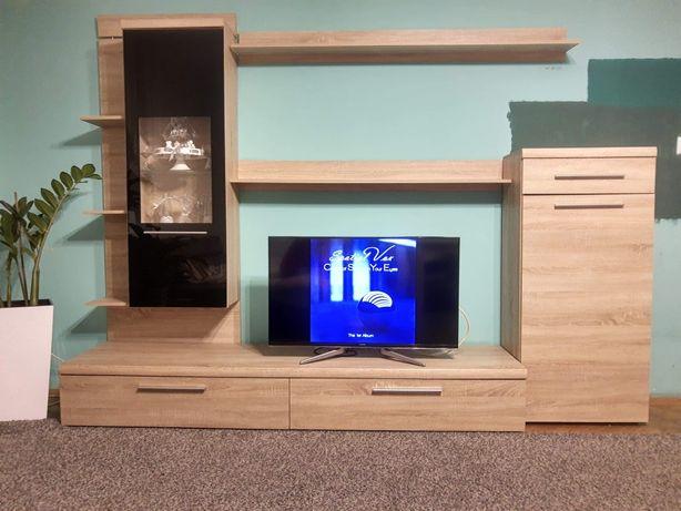 Zestaw mebli tv + komoda+ półka+ pojemna narożna szafa, dąb Sonoma
