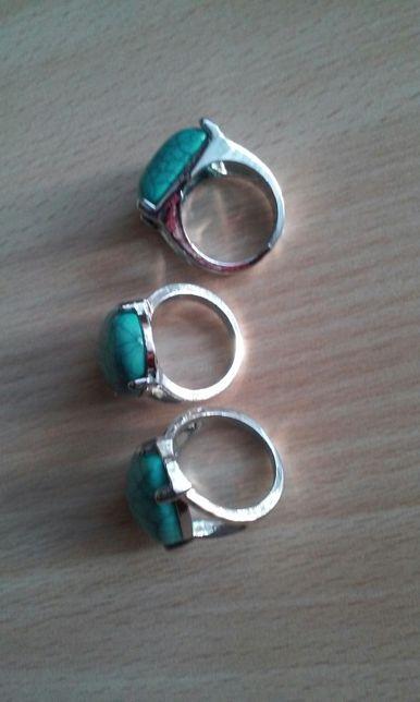 Кольца из эмалированой бирюзы/бижутерия/перстені/каблучки
