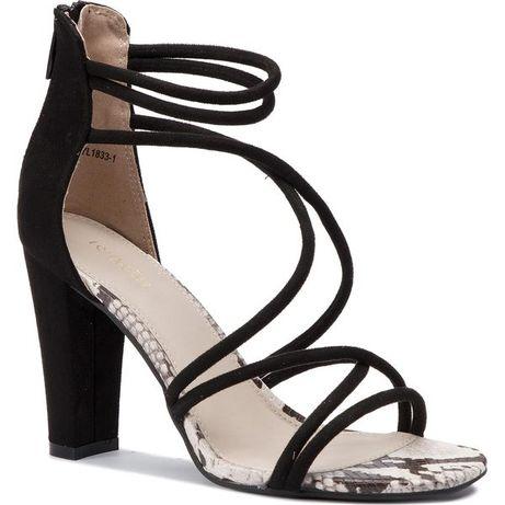 deezee śliczne sandały czarne na obcasie sznurki paski rozm 37