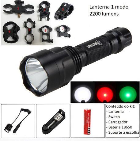 Kit CAÇA lanterna led 2200 Lumens 1 modo C8 AirSoft verde branca verde