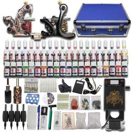 KIT Tatuagem 2 Máquinas Tintas Agulhas Diversos Acessórios 100% NOVO