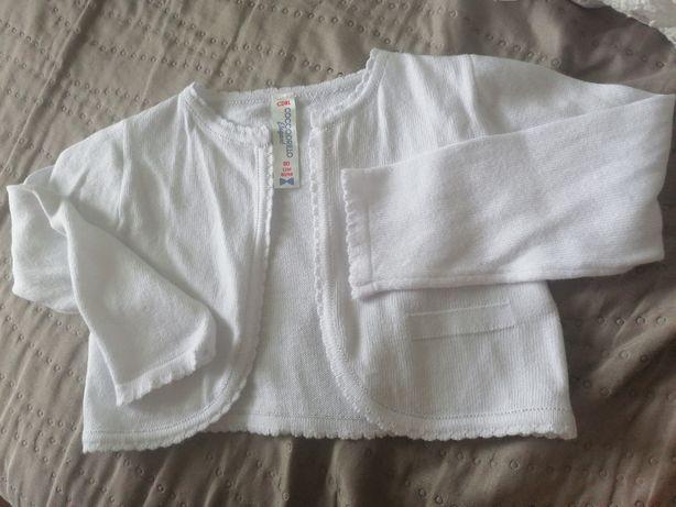 Bolerko sweterek biały coccodrillo chrzest 80 86
