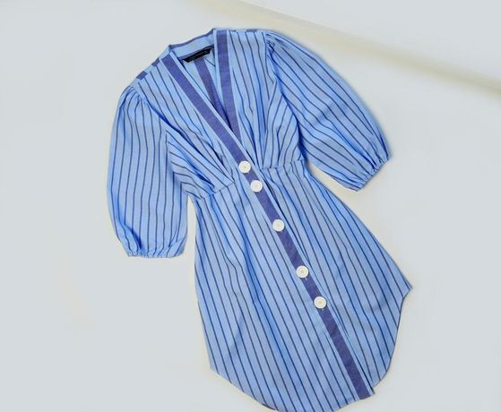 Хлопковое платье в полоску с пуговицами zara