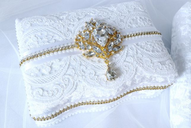 Шкатулка для украшений «Белый&Золото» с зеркалом