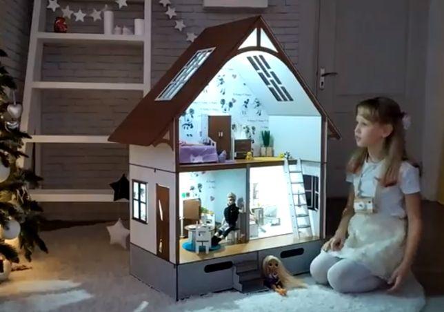 домик Барби, LOL, OMG / деревянный домик Скандинавия, h 110см +свет
