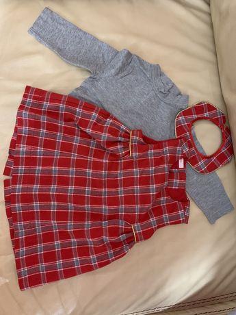 Платье красное gaialuna набор сарафан клетка и водолазка италия рот 86