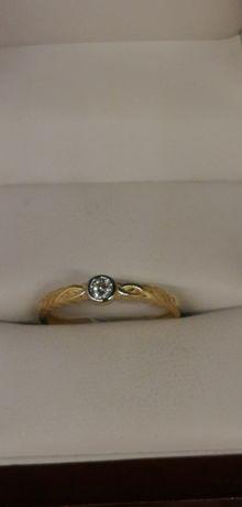 złoty pieścionek delikatny próba 585
