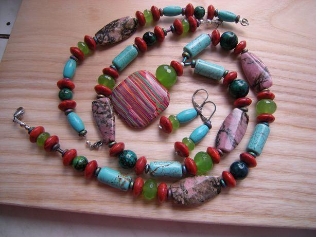 komplet damski z kamieni agat koral malachit chryzokola turkmenit