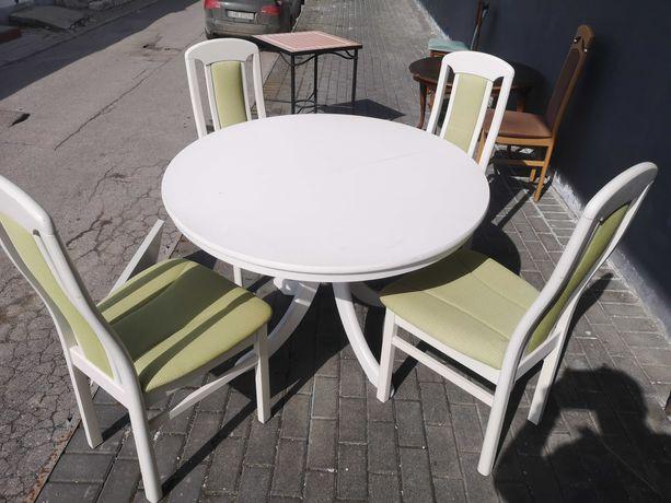 Stylowy biały stół rozkładany  + 4 krzesła z Niemiec DOWÓZ DO DOMU