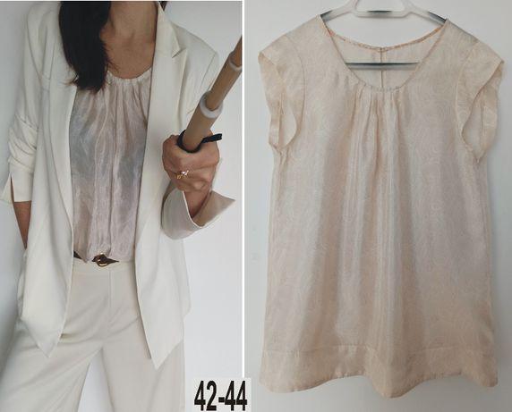 Elegancka bluzka z krótkim rękawem w kolorze ecru rozmiar 42