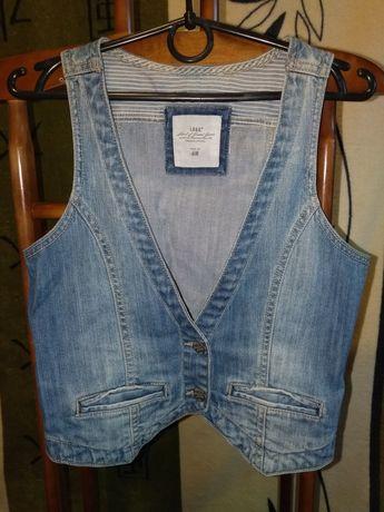 Жилетка джинсовая короткая