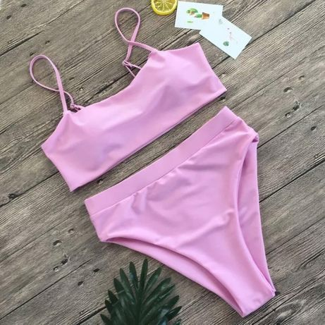 Стильный купальник бикини с высокой талией нежно розовый размер М