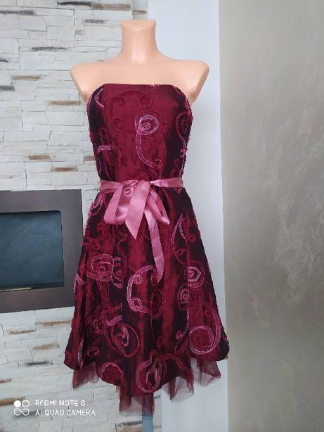 Bordowa rozkloszowana sukienka wieczorowa USA r.XS/S