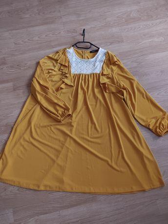 Musztardowa sukienka oversize