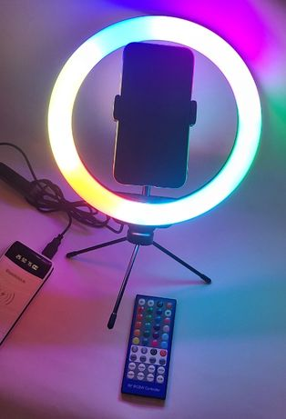 Многоцветная кольцевая LED лампа RGB 26 см с настольным штативом