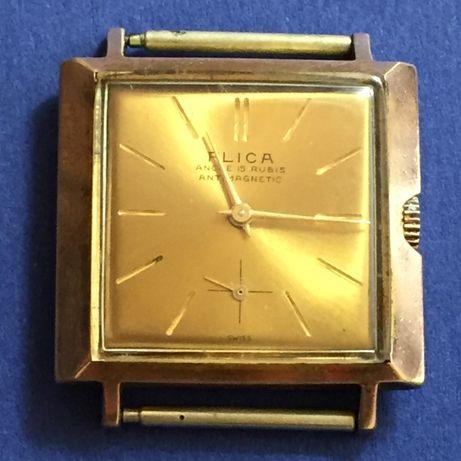 Relógio mecânico de corda manual - marca FLICA - made in Swiss