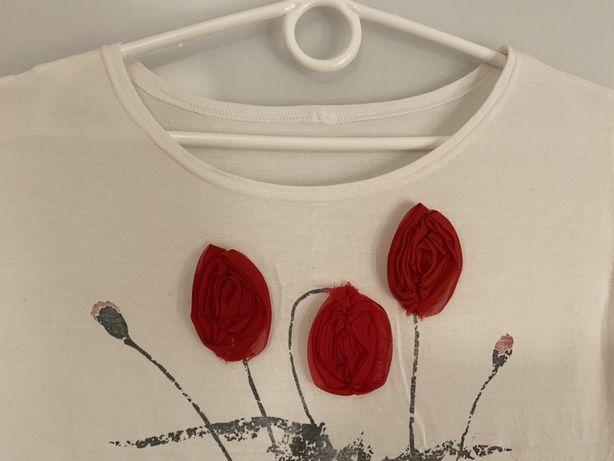 Bluzka damska, aplikacja maki 3D, polski produkt