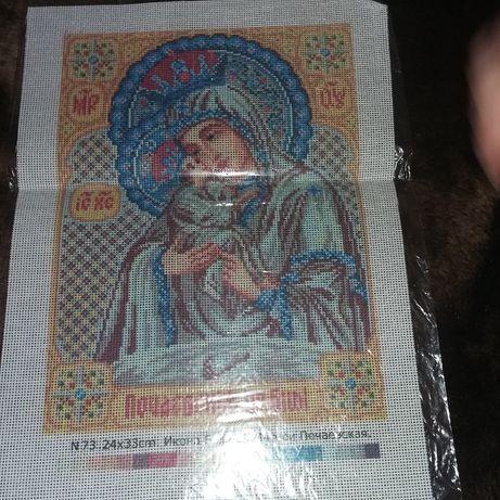 Вышивка на холсте Богородица