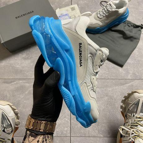 Кроссовки Balenciaga Triple S Clear Sole White Blue   кросівки Женские
