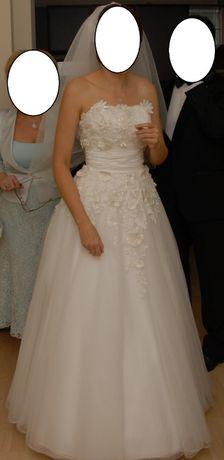 Suknia ślubna Herms Broche r36-38 + halka + krótki welon