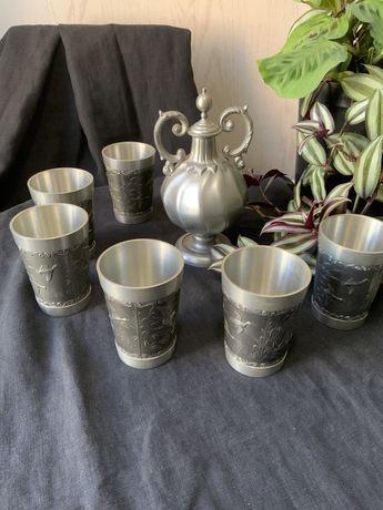 Винтажный графин и 6 оловянных стаканов, производство Германия