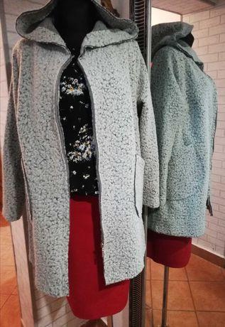 Wdzianko kardigan płaszcz z kapturem, kolor szary, rozmiar 46