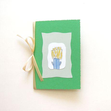 zielona kartka wiosenna, kartka zielona, kartka ręcznie robiona skromn